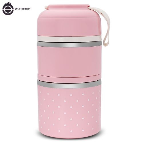 Lunch Box Thermal Leak-proof Stainless Steel -PINK