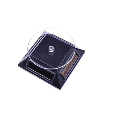 Solar Powered Rotating Rotary Phone Jewelry Display Stand Turntable (Black)