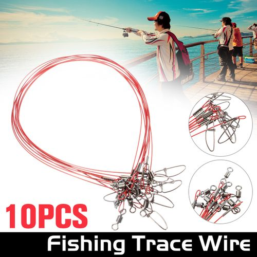 10PCS Fishing Lures Stainless Steel Trace Wire Leader Spinner Swivel Line
