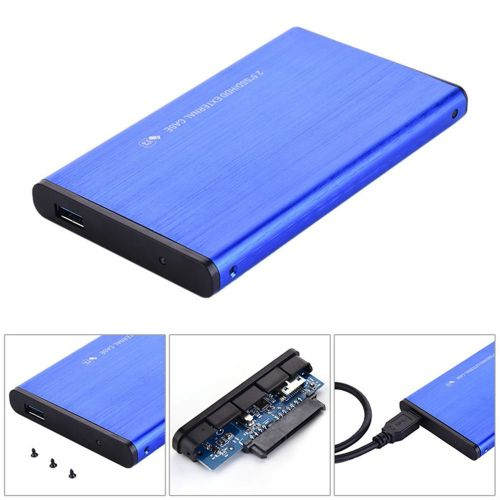 Usb3.0 High-speed Mobile Hard Disk Box Aluminum Alloy Wire Drawing Blue