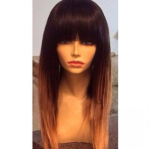 100% Human Hair Straight Ombre Wig - 18""