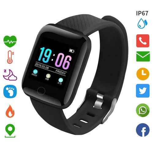 Men's Smart Watches Sport Fitness Tracker Color Screen-Black