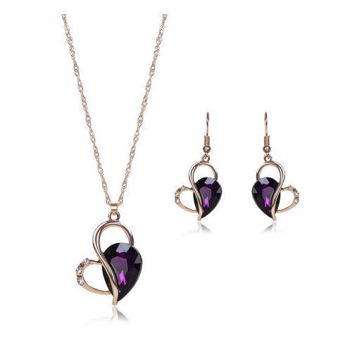 Crystal Drop Earrings+Necklace+Pendant Jewelry Set - Purple