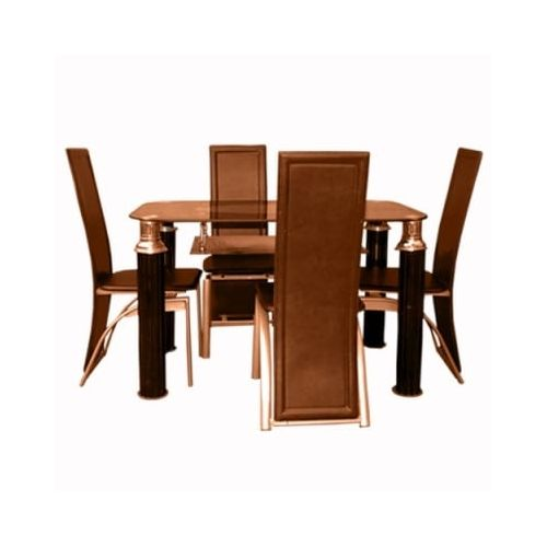4-Seater Dining Table & Chair Set - Brown(Delivery Within Lagos & Ogun Only)