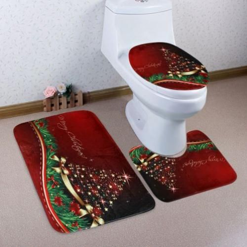 Merry Christmas Star Pattern 3 Pcs Toilet Mat Bath Mat - Red
