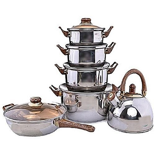 Set Of 6 Cooking Pot, Fry Pan And Whistling Kettle