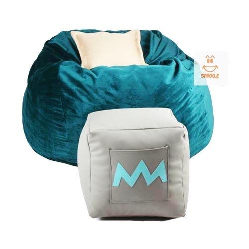 Spikkle Beanbag Chair & Leg Rest & 1 Pillow - Teal Green