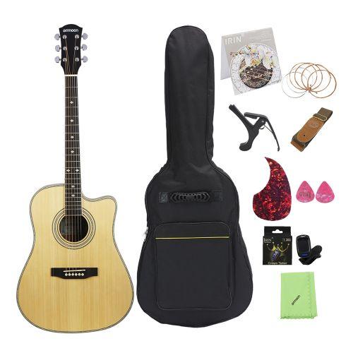 """Ammoon 41"""" Cutaway Acoustic Folk Guitar Spruce Topboard"""