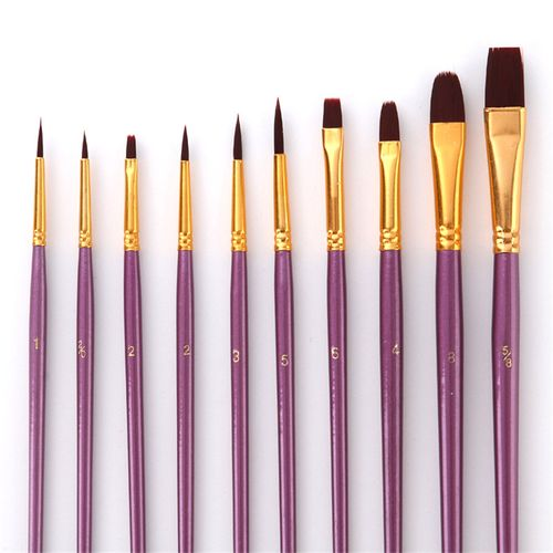 Mrosaa 10Pcs Purple Artist Paint Brush Set Nylon Hair Watercolor Acrylic Oil Painting Brushes Drawing Brush Pen Art Supplie