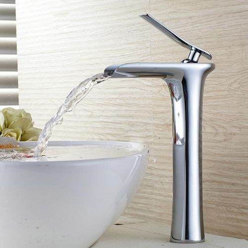 Tall Basin Faucets Waterfall Bathroom Faucet Single Handle Basin Mixer Tap Bath Antique Faucet Brass Sink Water Crane Silver