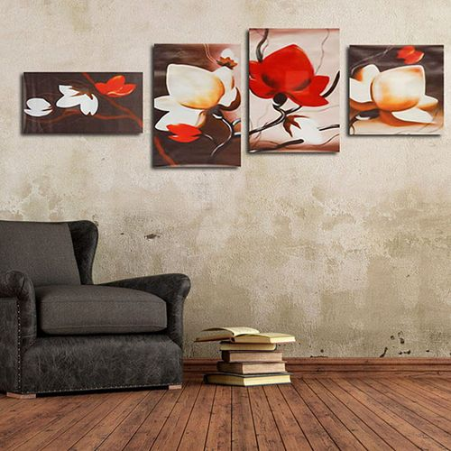 4Pcs Abstract Floral Flower Canvas Print Art Painting Home Wall Decor