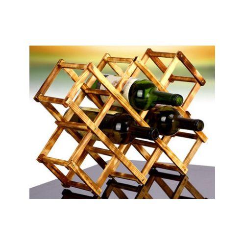Foldable Wooden Wine Rack Organizer Display Shelf 10 Bottles Capacity