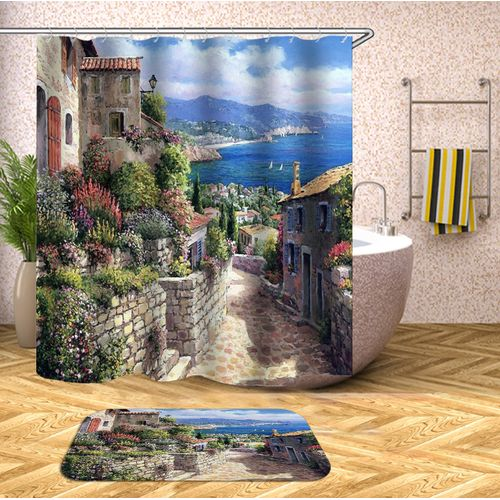 Bathroom Shower Curtain Toilet Non-Slip Pedestal Rug Set - Shower Curtain