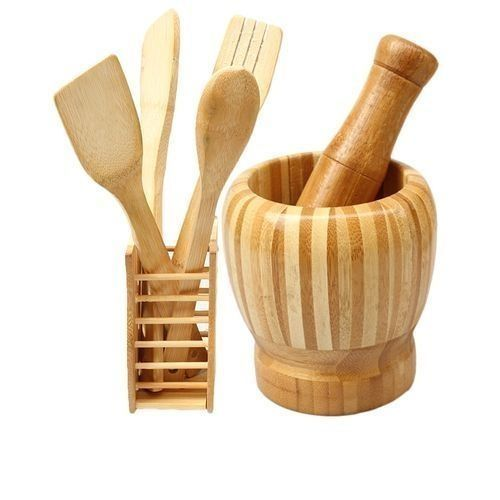 Wooden Spoons Set And Portable Mortal & Pestle