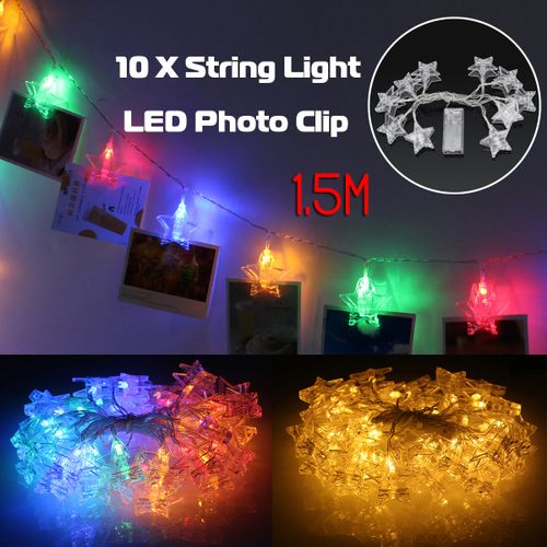 1.5M 10 LED Lamp Photo Window Hanging Clips String Lights Party Wedding Decor US