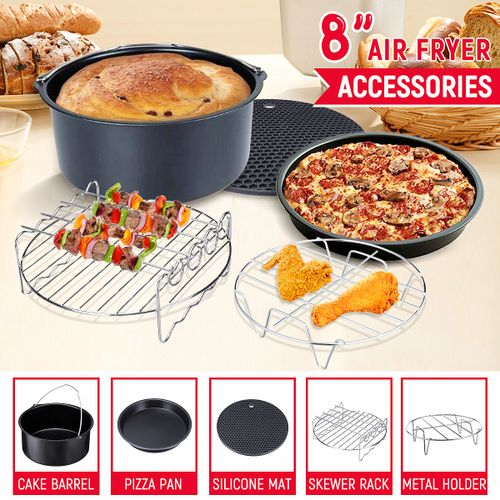 8'' Air Fryer Accessories Set Chips Baking Basket Rack For Phillips 4.2QT-6.8QT