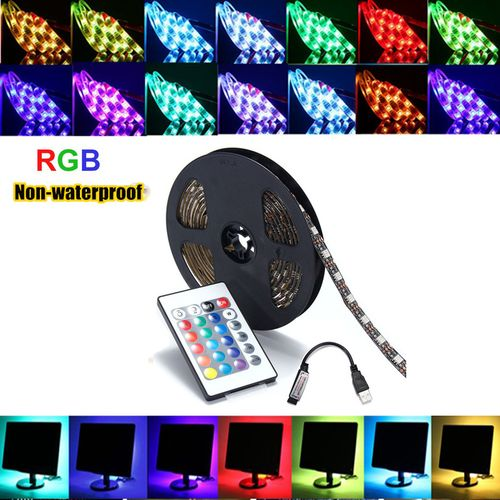 5V USB 5050 60SMD/M RGB LED Strip Lamp Bar TV Back Lighting Kit Remote Control 0.5/1/2/3/4/5M