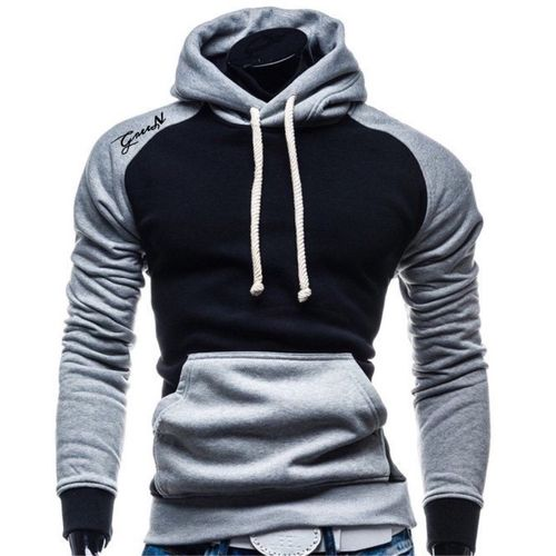 Grey And Black Cotton Hoodie