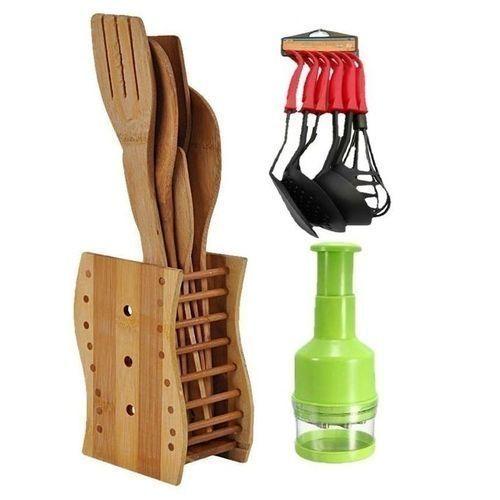 Kitchen Wooden Spoons + Non Stick Spoon Set + Free Onion Chopper