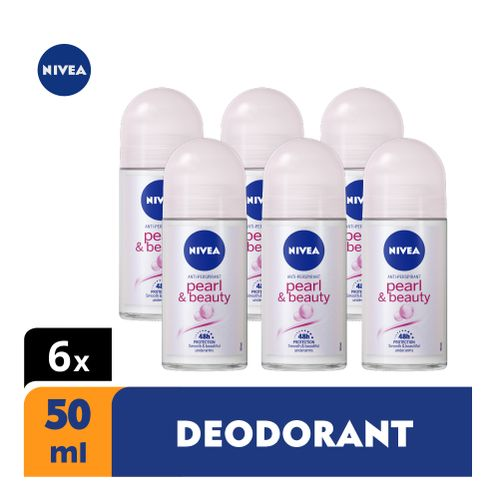 Pearl & Beauty Anti-Perspirant Roll-on For Women, 48h - 50ml (Pack Of 6)