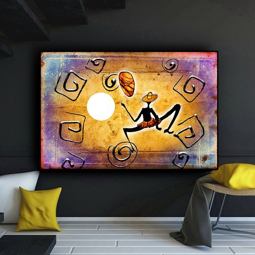 Gold Abstract African Figure Dancing Geometry Oil Painting On Canvas Posters And Prints Cuadros Wall Art Picture For Living Room