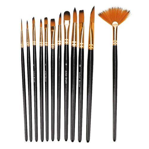 12Pcs Brush Drawing High Quality Art Painting Set Black Nylon Hair Watercolor Drawing Brush