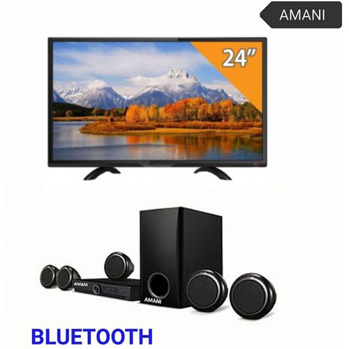 """24""""INCHES FULL HD LED HDMI TV AND BLACK HOME THEATRE"""