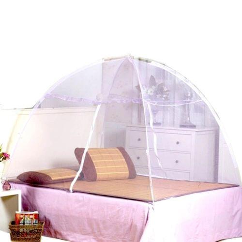 Summer Bi-parting Folding Mesh Insect Bed Mongolian Yurt Mosquito Net Purple