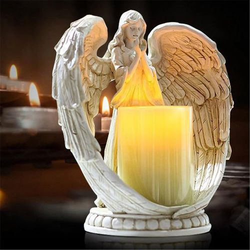 Angel Cherub Memorial Wings Feathered Book Tea Light Candle Holder