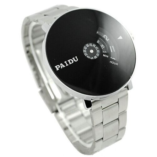 Meibaol StoreStainless Silver Band PAIDU Quartz Wrist Watch Black Turntable Dial Mens Gift