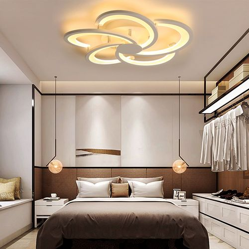 Acrylic 6 Heads LED Ceiling Light Remote Room Lamp 220V