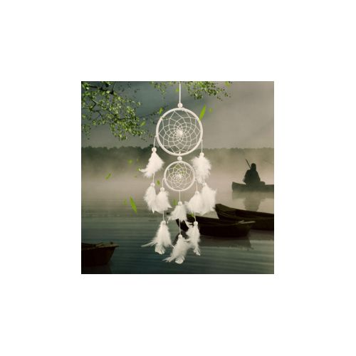 Sweetbaby White Dreamcatcher Wind Chimes Indian Style Beads Feather Pendant Home Wall Window Decor