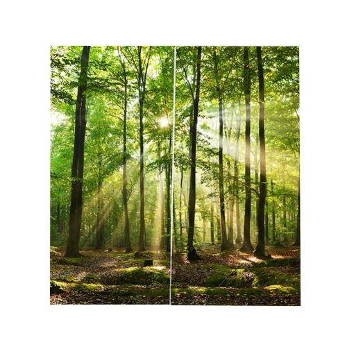 Home Forest Sunlight Print Blackout Curtains Balcony Bedroom For Living Room Window Decor