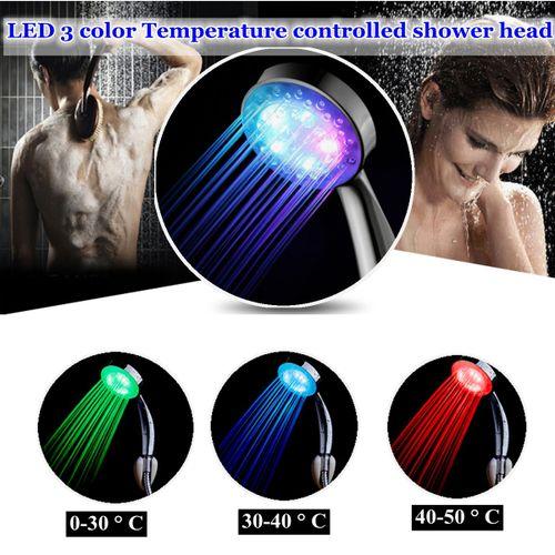 LED 3 Color Changing Shower Head Temperature Controlled Sensor Handheld Bathroom