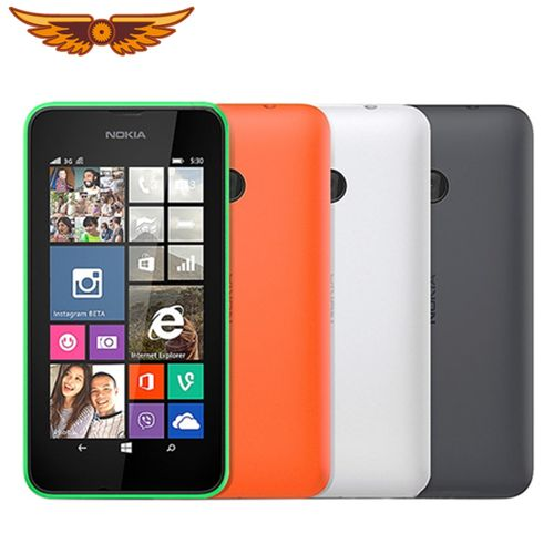 Lumia 530 Cell Phone Windows OS Single Dual Sim Cards 4GB Storage 5.0MP Camera 4.0 Inch IPS Screen(Black)