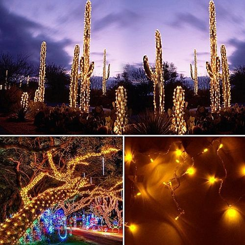 20M 200 LED Yellow Lights Decorative Christmas Party Festival Twinkle String Lamp Bulb With Tail Plug 110V US