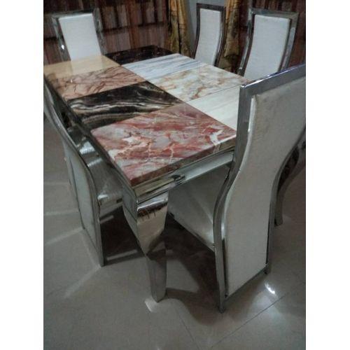 6 Seater Multi-Hue Marble Dining Set