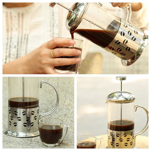 Stainless Steel Glass Cafetiere French Filter Coffee Tea Press Plunger -350ml