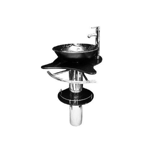 Glass Dining Wash Hand Basin With Mixer-Black