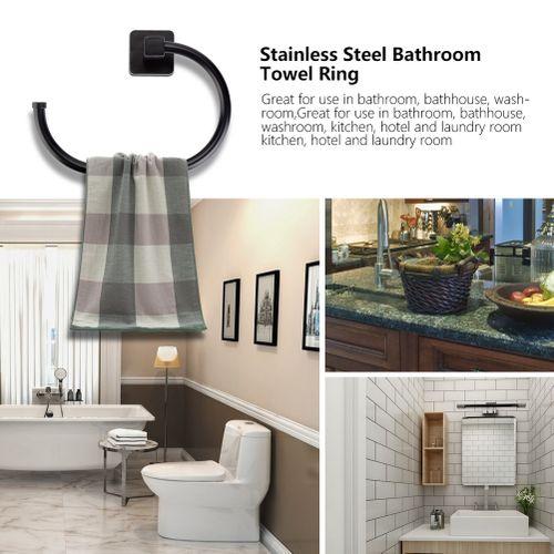 Stainless Steel Bathroom Towel Ring Black Color Holder Rack Bathhouse Washroom Accessories