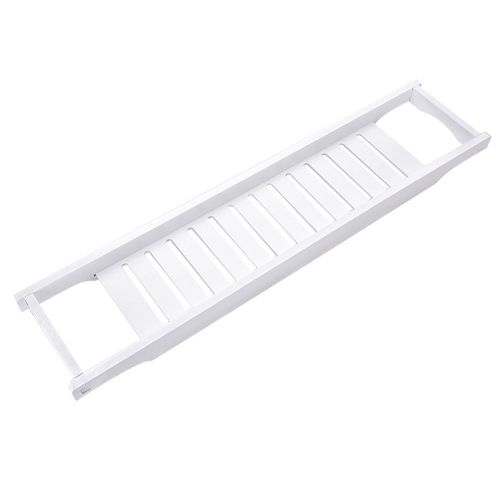 Modern White Color MDF Bath Tray Bathtub Storage Rack Shelf Organizer Wine Glass Holder