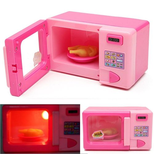 Electric Children Kid Mini Pink Microwave Oven Pretend Role Play Toy Educational