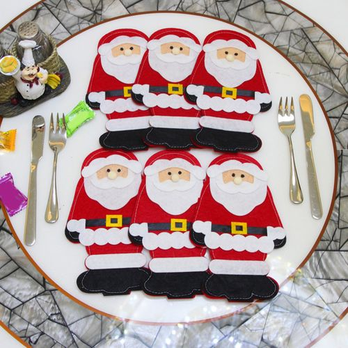 6PCS Christmas Xmas Table Forks Useful Bag Pouch Pocket Tableware Dinner Decor