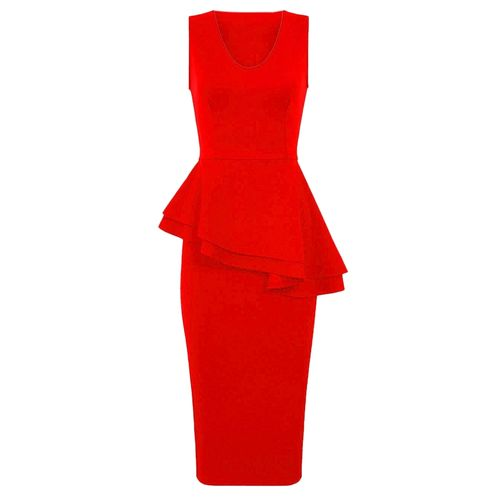 Sleeveless Side Slant Peplum Dress - Red