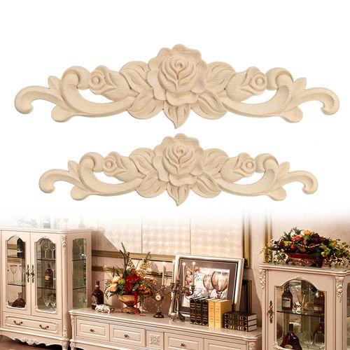 Rubber Wood Carved Corner Onlay Applique Carving Furniture Home Decor