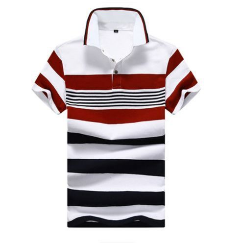 Men's Cotton Casual Short-sleeved T-shirt POLO Shirt -Red
