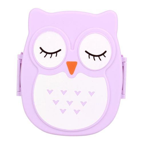 Cute Cartoon Owl Lunch Box Food Container Storage Box Portable Bento Box Spoon(purple)
