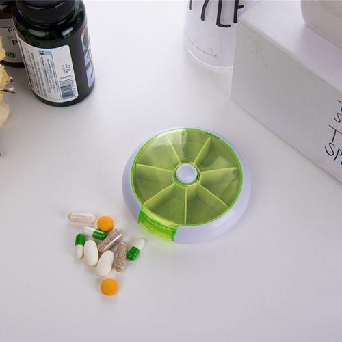 1Pcs Round Pill Box 7 Days Plastic Storage Box Rotating Portable Pill Box Case