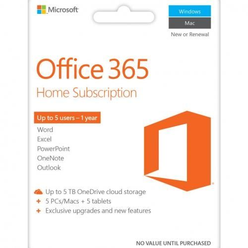 New Edition Office 365 Home 1yr Subscription - 5 Users For PC & Mac