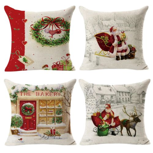 Fashion 4PCS Linen Square Throw Flax Pillow Case Decorative Cushion Pillow Cover